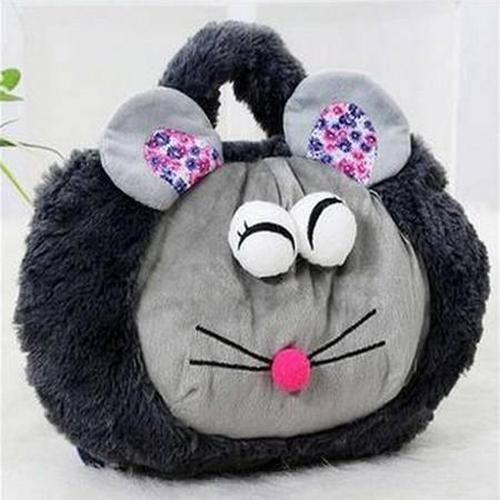红兔子 超萌卡通双插手带提手热水袋/电暖袋 未注水--灰色大眼鼠(810) 浅灰色