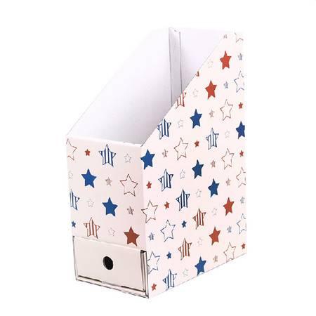 普润 (星星)卡通带抽屉桌面收纳盒 文件文具整理盒纸质收纳盒