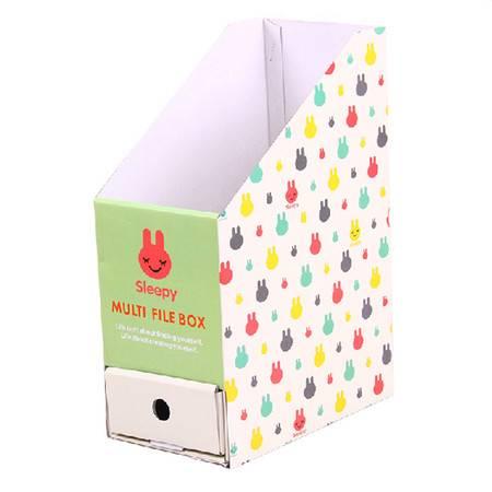 普润 (兔子)卡通带抽屉桌面收纳盒 文件文具整理盒纸质收纳盒