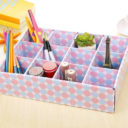 普润 DIY彩色12格收纳盒 抽屉整理盒杂物收纳盒 储物盒