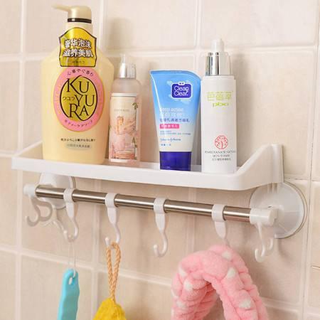 红兔子 带挂钩吸盘置物架/卫生间用品挂钩 浴室毛巾架 吸盘收纳架 白