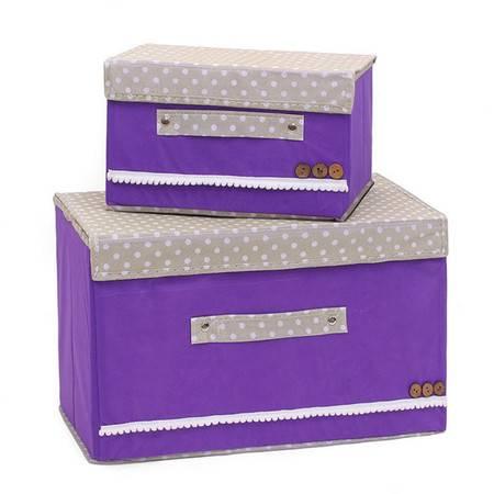 红兔子 彩色大小两件套扣扣收纳箱日式收纳盒无纺布储物箱 紫色