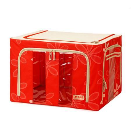 红兔子 牛津布收纳箱 有盖储物整理箱 铁架衣物百纳箱 太阳花中国红(三开门) 66L 50*40*3