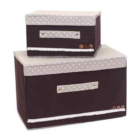 红兔子 彩色大小两件套扣扣收纳箱日式收纳盒无纺布储物箱 咖啡色