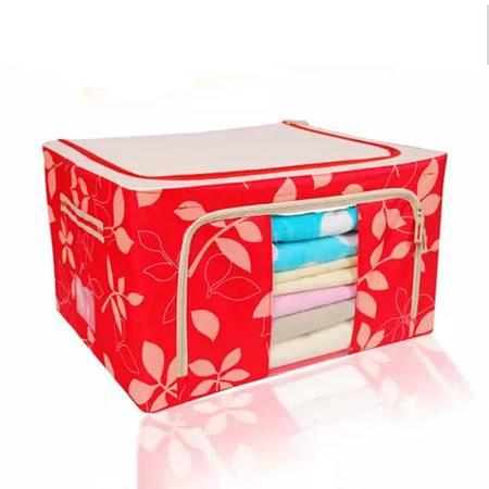 普润 双开44L牛津布百纳箱 有盖收纳盒 整理箱 大号 收纳箱 红花色