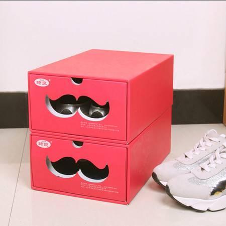 红兔子 (中号红色)糖果色鞋子收纳盒 鞋盒 多功能收纳盒