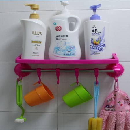红兔子 带挂钩吸盘置物架/卫生间用品挂钩 浴室毛巾架 吸盘收纳架 玫红色