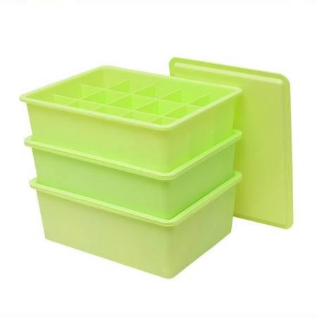 普润 居家加厚塑料内衣收纳盒 文胸袜子带盖整理箱三件套1盖 绿色