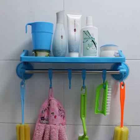 红兔子 带挂钩吸盘置物架/卫生间用品挂钩 浴室毛巾架 吸盘收纳架 蓝色