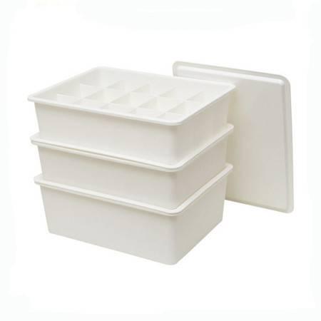 红兔子 居家加厚塑料内衣收纳盒 文胸袜子带盖整理箱三件套1盖 白色