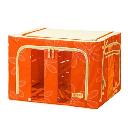 普润 牛津布收纳箱 有盖储物整理箱 铁架衣物百纳箱 太阳花鲜果橙(三开门) 66L 50*40*33