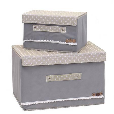 红兔子 彩色大小两件套扣扣收纳箱日式收纳盒无纺布储物箱 灰色