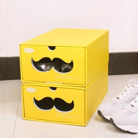 普润 (中号黄色)糖果色鞋子收纳盒 鞋盒 多功能收纳盒