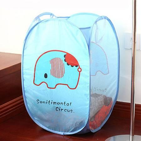 普润 日式折叠彩网脏衣篮 晒衣篮大号衣物收纳篮脏衣袋 蓝色小象