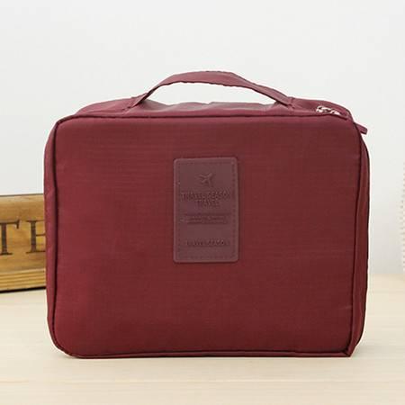 普润 (酱红)韩版方形旅行多功能内衣收纳包 旅行包 便携洗漱包
