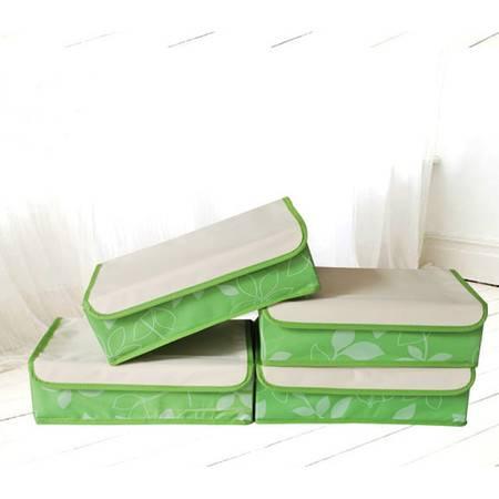 红兔子 牛津布有盖收纳盒 内衣 收纳箱 整理盒(15格)绿色