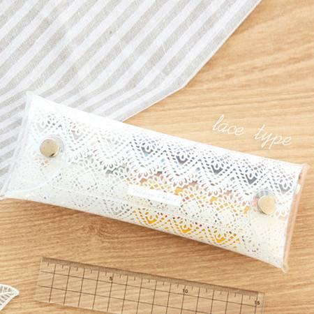 红兔子 (花边)韩国live work 透明文具收纳袋清新折叠笔袋