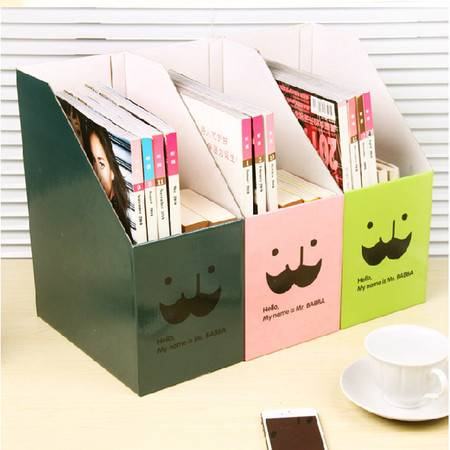 红兔子 韩国DIY胡子叔叔 桌面收纳盒桌面整理盒文件收纳盒(果绿)