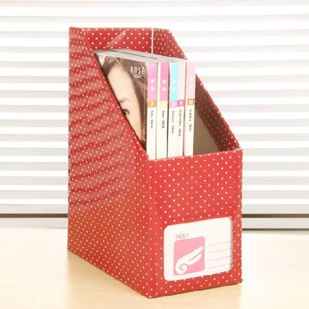 红兔子  韩版创意白点纸质书本文具 桌面收纳盒桌面整理盒文件收纳盒(大号红色白点)