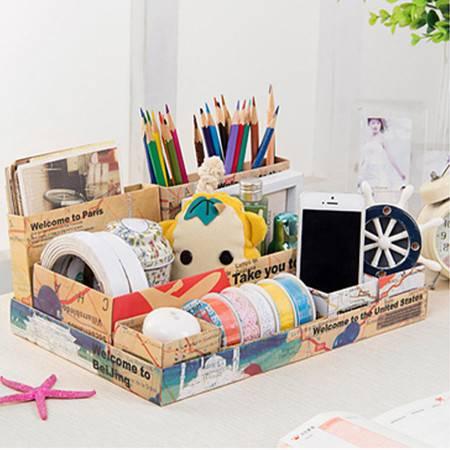 红兔子 7格桌面收纳盒 七格整理盒 化妆品收纳盒 桌面储物盒 整理盒 杂物文具七格整理盒 地球