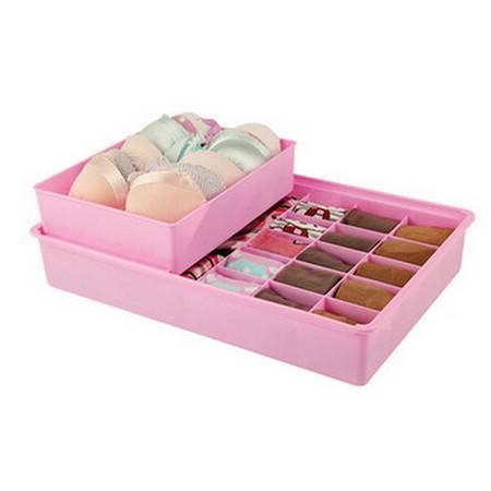 红兔子 双层独立文胸袜子内衣收纳盒-粉色(K8136-4)