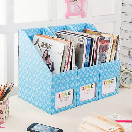 红兔子 创意雪花纸质书本文具桌面收纳盒桌面整理盒文件收纳盒(大号雪花)