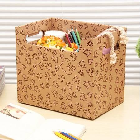 红兔子 大容量纸质收纳箱玩具衣服储物箱有盖搬家纸箱宿舍整理箱整理盒杂物盒收纳盒 (爱心)