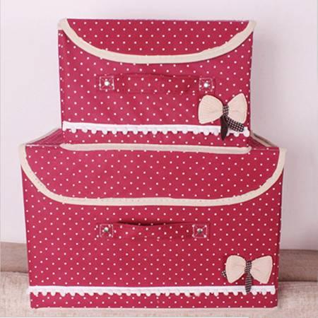红兔子 蝴蝶结小布点收纳箱有盖收纳盒整理箱储物箱衣物创意收纳2件套 酒红色
