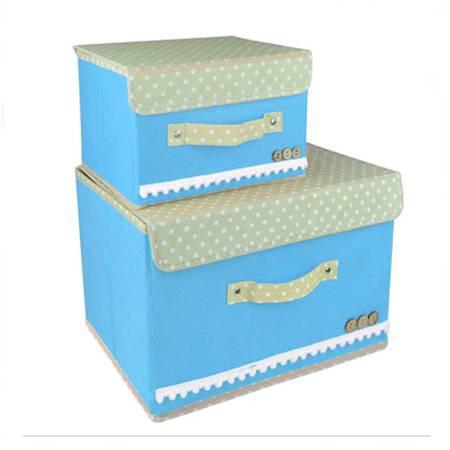 红兔子 彩色大小两件套扣扣收纳箱日式收纳盒无纺布储物箱 天蓝