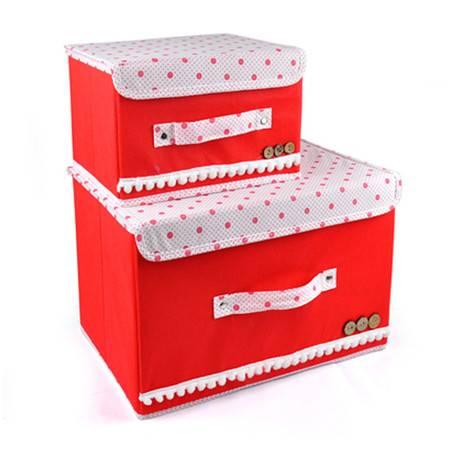 红兔子 彩色大小两件套扣扣收纳箱日式收纳盒无纺布储物箱 大红色