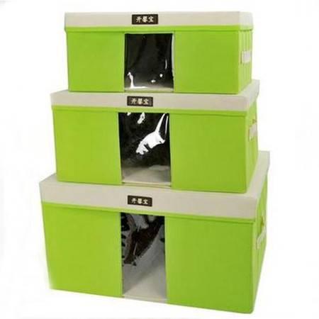 红兔子 毛衣收纳箱/带盖可视衣物整理箱三件套--草绿色