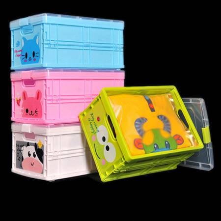 红兔子 大号卡通可折叠动物储物箱 塑料折叠伸缩收纳盒 绿色青蛙