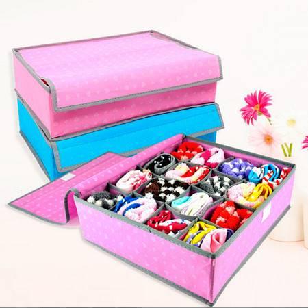 红兔子 16格文胸内衣带盖收纳盒--蓝色爱心