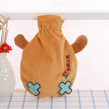 红兔子 热水袋暖水袋电热宝暖腰暖手宝暖宝宝 创意品鱼系列 贮水式丝绒热水袋 可拆卸清洗暖手宝 棕色