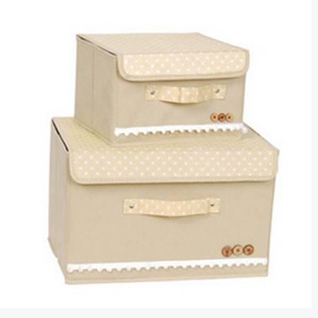 红兔子 彩色大小两件套扣扣收纳箱日式收纳盒无纺布储物箱 米色