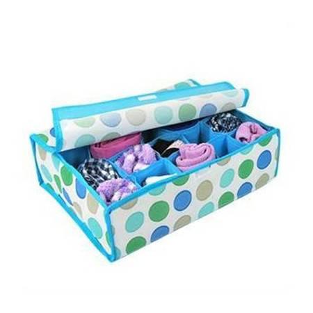 红兔子 收纳蓝色圆圈20格软盖收纳盒