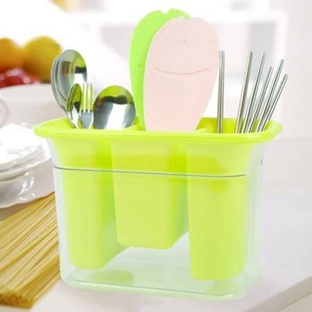 红兔子 沥水餐具收纳盒餐具架筷子篓餐具沥水盒 绿色