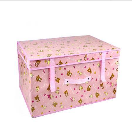 红兔子 大号防水有盖衣服收纳箱 被子棉被储物箱整理箱 衣物收纳盒60*40*30粉色小熊