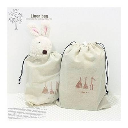 红兔子 布艺 束口袋收纳袋零钱袋手机袋糖果袋 大号