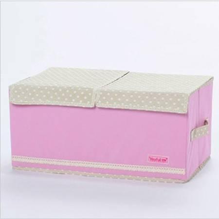 红兔子 双盖收纳箱 大号整理箱 内衣杂物婴儿衣物收纳盒 粉色 47*27*22