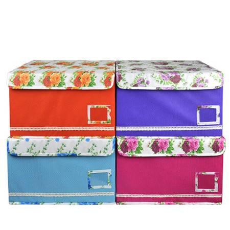 红兔子 泡泡纹收纳箱田园风收纳盒花盖储物箱整理箱储物盒收纳整理箱 35L 橙色