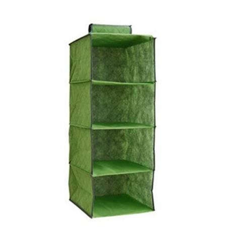 红兔子 竹炭系列 4格整理衣物收纳挂袋 绿色