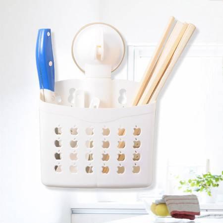 红兔子 厨卫两用带吸盘双筒沥水筷子笼/收纳篮--白色(镂空苹果)