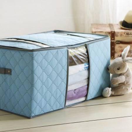 红兔子 竹炭系列 透视窗百纳箱 收纳箱 蓝色