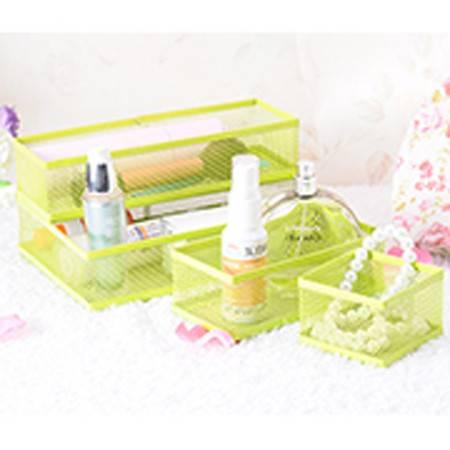 红兔子 卡秀炫彩铁艺自由组合多用途桌面整理收纳盒四件套--绿色(K3309)