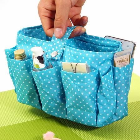 红兔子 多功能包中包波点收纳袋/化妆包包 花色随机