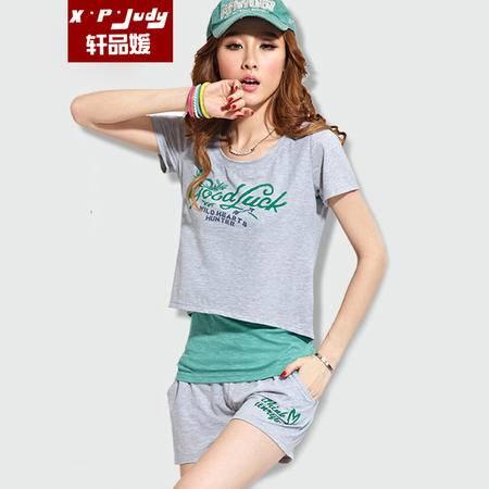 轩品媛 2016夏季新款韩版时尚休闲印花短袖T恤短裤背心套装三件套运动套装女 XPY006