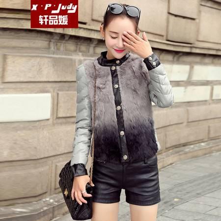 轩品媛  pu棉衣女短款韩版修身2016冬季新款羽绒棉服加厚外套  21001552