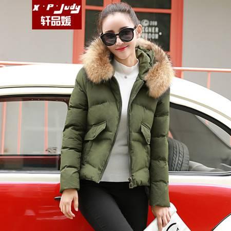 轩品媛  2016新款秋冬季棉袄女修身显瘦短款毛领棉衣棉服  21009903