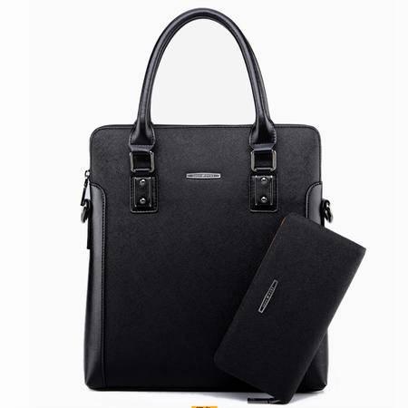 送钱包!男包商务休闲手提包 电脑公文包韩版男士背包单肩包